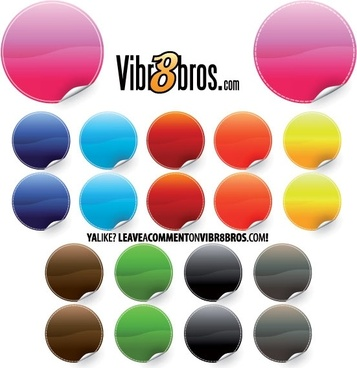 colorful round stickers collection with swirl edge design