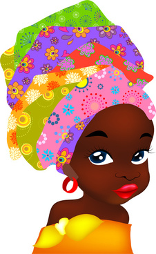 portrait illustration of african woman with traditional hat