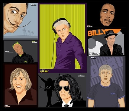 famous people portrait paintings colorful cartoon sketch