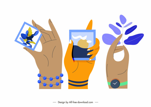 posing hands icons pictures leaf sketch