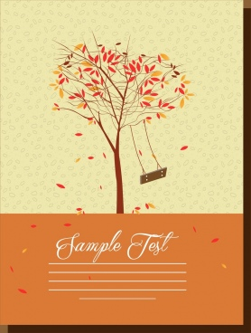 postcard cover background autumn style colorful leaves ornament
