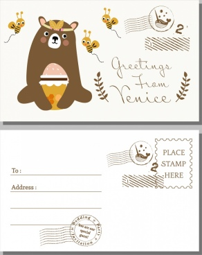 postcard cover template bear honey bees icons