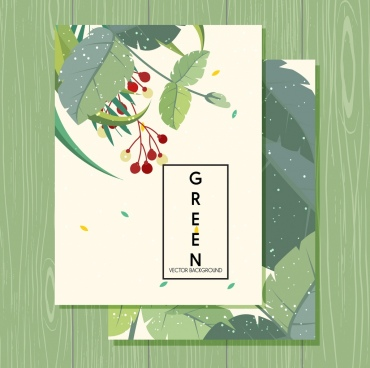postcard cover template natural green leaves decoration