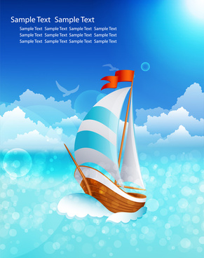 postcard design with sail and sea background