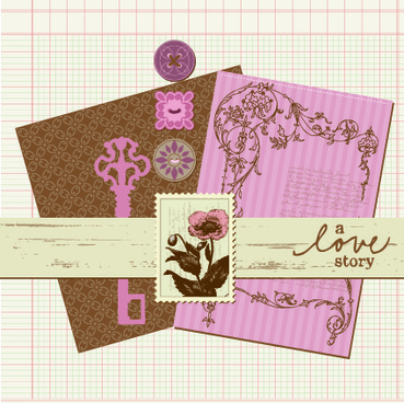 postcard love with stamp vector