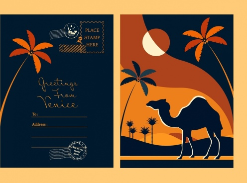 postcard template camel coconut icons dark silhouette decor