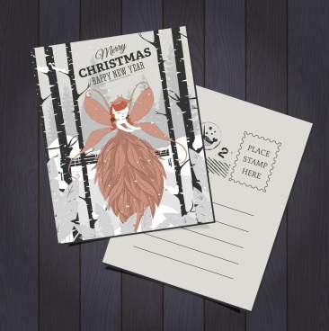 postcard template christmas theme angel snowfall icons