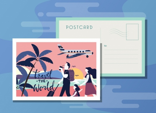 postcard template family travel theme cartoon design