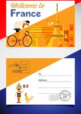 postcard template france design elements decor