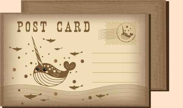 postcard template marine creatures icons classical design