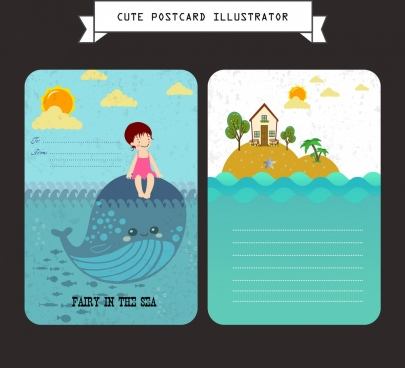 postcard template marine life icons colored cartoon decor