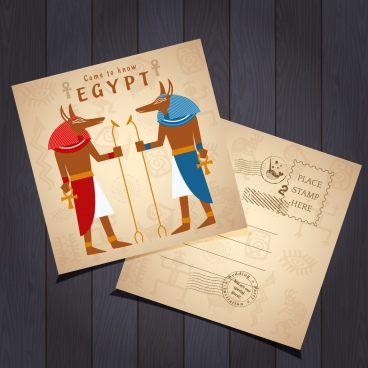 postcard template retro egypt design elements decor