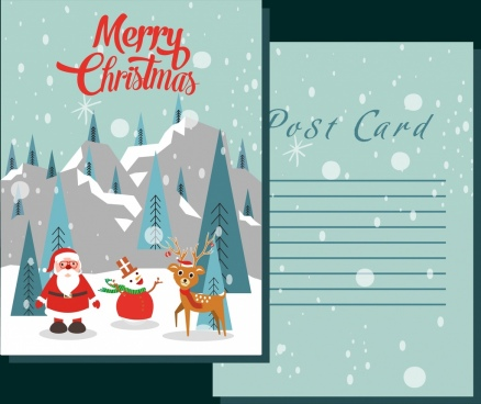 postcard template snowy christmas decoration