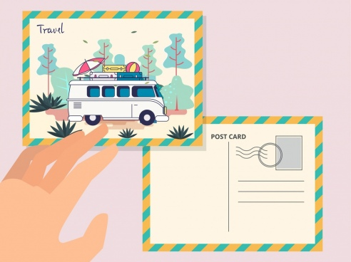 postcard template travel theme bus icon decor