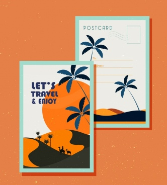 postcard template travel theme desert icon classical design
