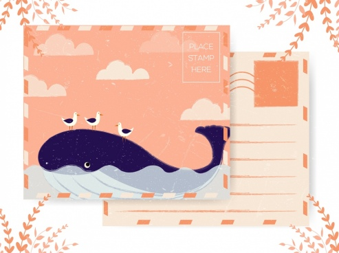postcard template whale seagull icons colored retro design