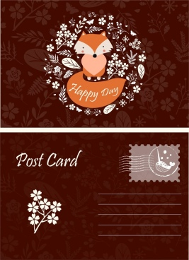postcard template wild nature decor fox leaves icons