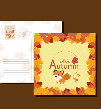 postcard templates autumn style leaves fox icons