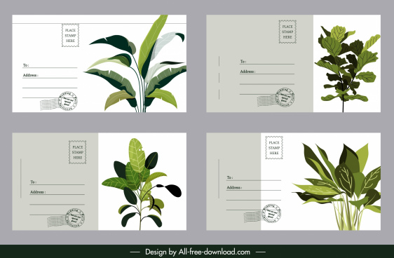 postcard templates green trees decor classic design