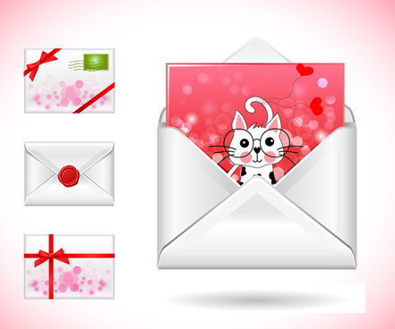 postcards envelope vector illustration with cute style