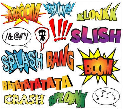 sound icons colorful capital texts speech bubbles design