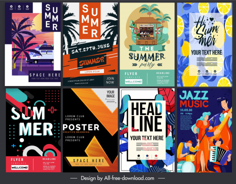 poster flyer templates colorful classical modern design
