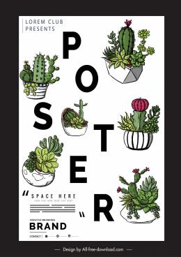 poster template cactus pots decor classical design