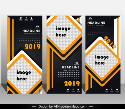 poster template elegant modern dark decor vertical standee