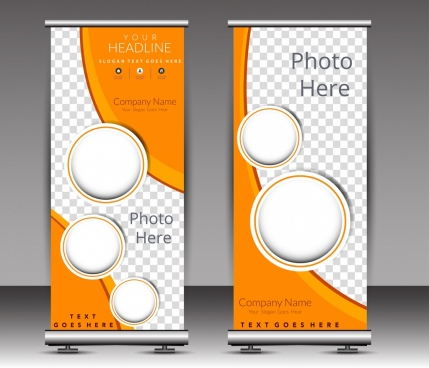 poster template modern circle checkered decor roll design