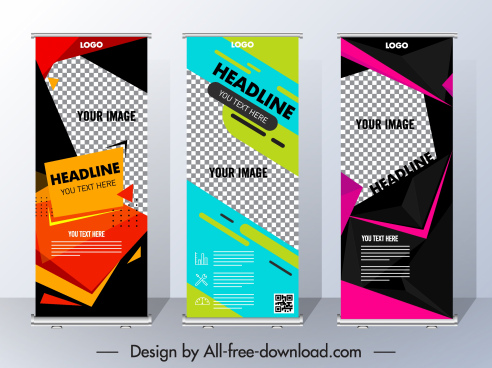 poster templates vertical scroll shape modern abstract design