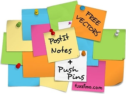 notes stickers icons design various colored sheets arrangement