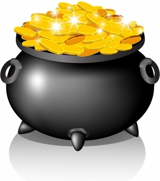 Pot with golden coins