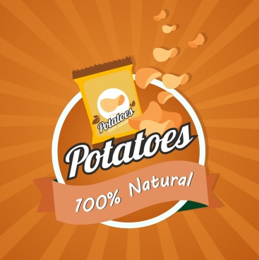 potato advertisement chip snack icons decor