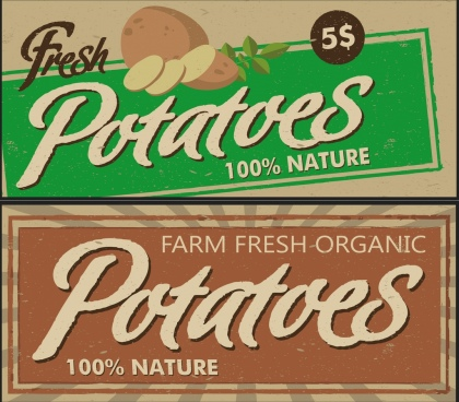 potato advertisement sets retro design calligraphy decor
