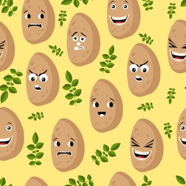 potato background funny stylized icon repeating decoration