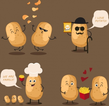 potato chips advertising funny stylized icons decoration