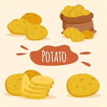 potato design elements slices bag icons classical style