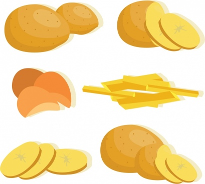 potato icons collection various 3d yellow design