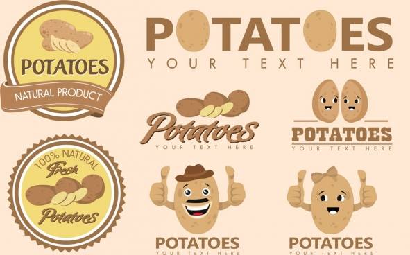 potato identity sets various shapes cute stylized icons