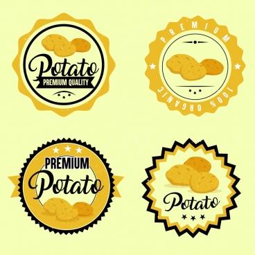 potato label template yellow circle design