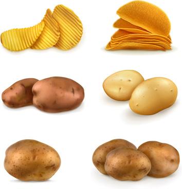 potatoes and potato chips vector graphics