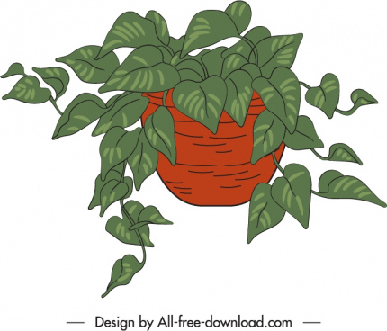 potted houseplant icon classic handdrawn leaves decor
