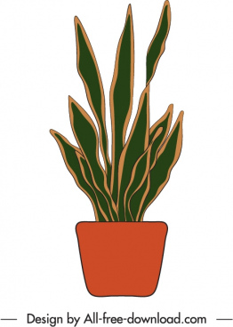 potted houseplant icon flat retro handdrawn outline