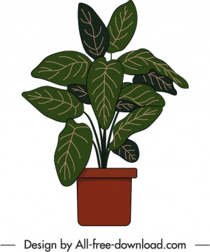 potted houseplant icon flat retro handdrawn sketch