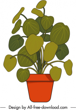 potted houseplant icon handdrawn sketch flat design