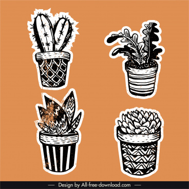 potted houseplant icons retro design flat handdrawn