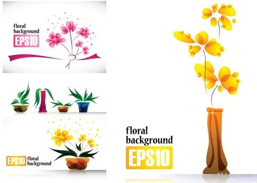 nature background templates flowers icons modern bright design