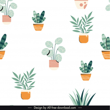 potted plant pattern template flat classical design