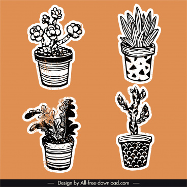 potted plants icons vintage handdrawn outline