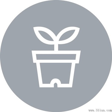 potted small icon gray background vector
